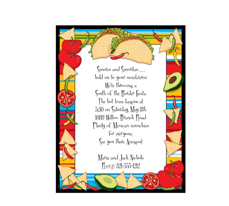 Taco Party Invitation Sheets