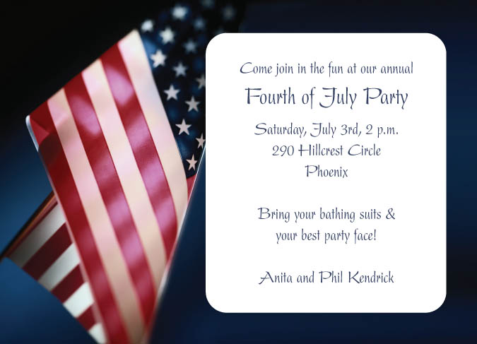 american flag invitations with matching response cards magnets